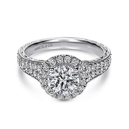 Gabriel - Sabina 14k White Gold Round Halo Engagement Ring