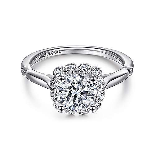 Gabriel - Sable 18k White Gold Round Halo Engagement Ring