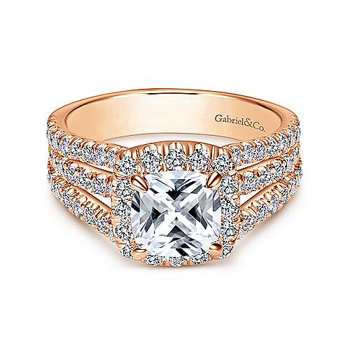 Sabrina 14k Rose Gold Cushion Cut Halo Engagement Ring angle 1