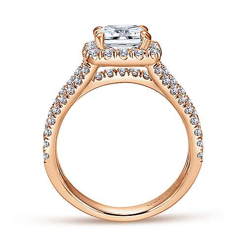 Sabrina 14k Rose Gold Cushion Cut Halo Engagement Ring angle 2