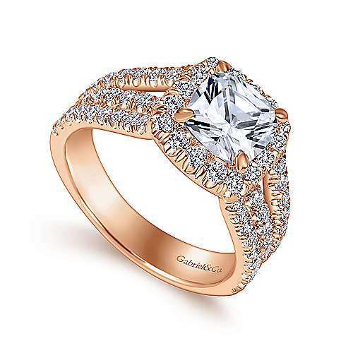 Sabrina 14k Rose Gold Cushion Cut Halo Engagement Ring angle 3