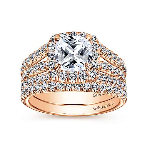Sabrina 14k Rose Gold Cushion Cut Halo Engagement Ring angle 4