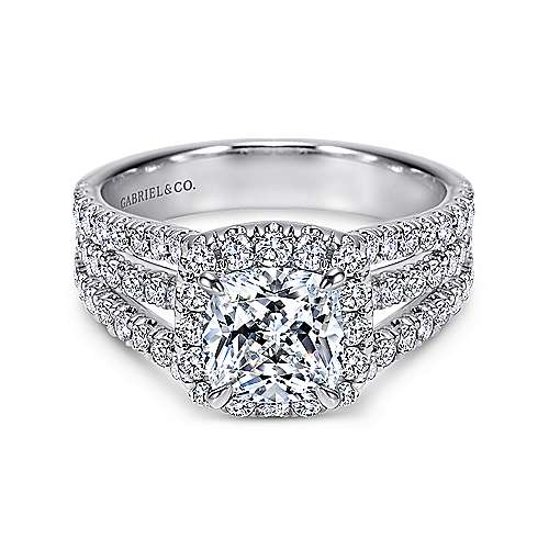 Gabriel - Sabrina 14k White Gold Cushion Cut Halo Engagement Ring