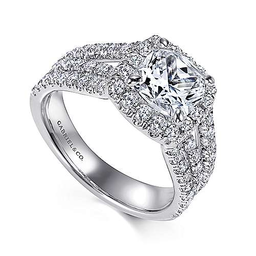 Sabrina 14k White Gold Cushion Cut Halo Engagement Ring angle 3