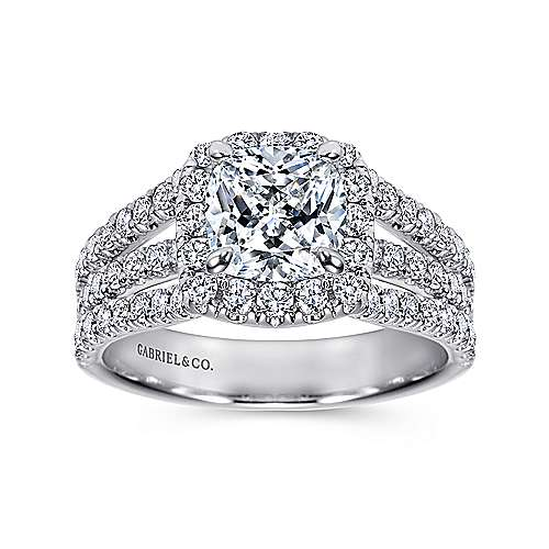 Sabrina 14k White Gold Cushion Cut Halo Engagement Ring angle 5