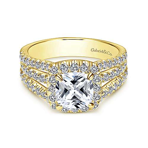 Sabrina 14k Yellow Gold Cushion Cut Halo Engagement Ring angle 1