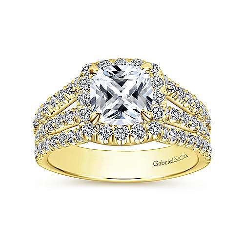 Sabrina 14k Yellow Gold Cushion Cut Halo Engagement Ring angle 5