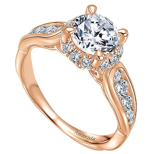Sade 18k Rose Gold Round Halo Engagement Ring angle 3