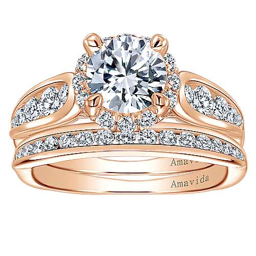 Sade 18k Rose Gold Round Halo Engagement Ring angle 4