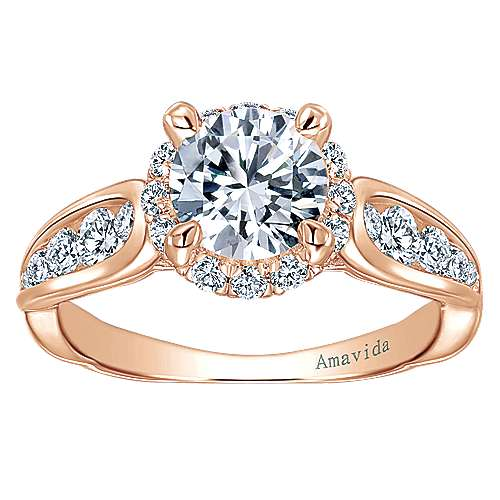 Sade 18k Rose Gold Round Halo Engagement Ring angle 5