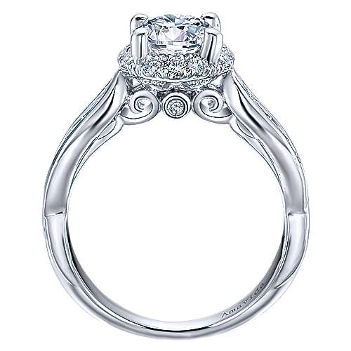 Sade 18k White Gold Round Halo Engagement Ring angle 2