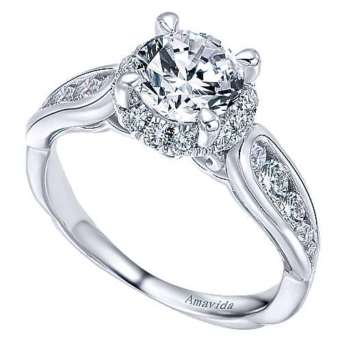Sade 18k White Gold Round Halo Engagement Ring angle 3