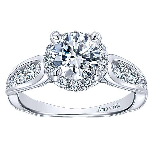 Sade 18k White Gold Round Halo Engagement Ring angle 5