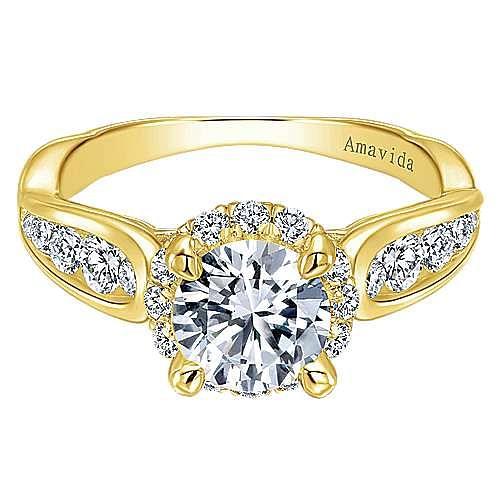 Sade 18k Yellow Gold Round Halo Engagement Ring angle 1