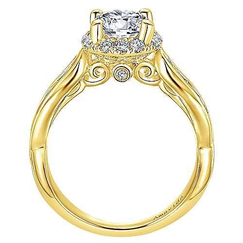 Sade 18k Yellow Gold Round Halo Engagement Ring angle 2