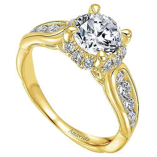 Sade 18k Yellow Gold Round Halo Engagement Ring angle 3