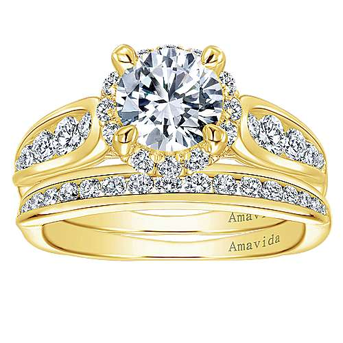 Sade 18k Yellow Gold Round Halo Engagement Ring angle 4