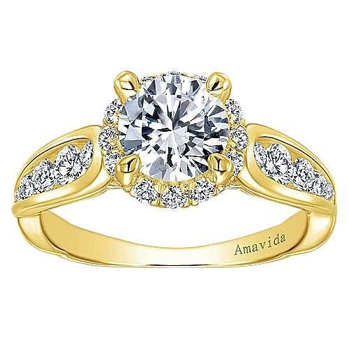 Sade 18k Yellow Gold Round Halo Engagement Ring angle 5