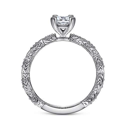 Sadie 14k White Gold Emerald Cut Straight Engagement Ring angle 2