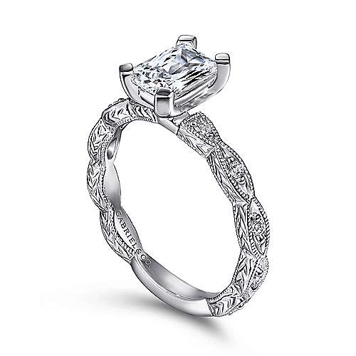 Sadie 14k White Gold Emerald Cut Straight Engagement Ring angle 3