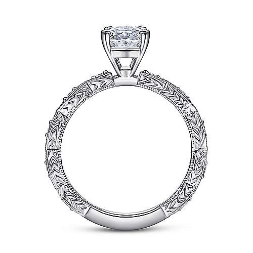 Sadie 14k White Gold Oval Straight Engagement Ring angle 2