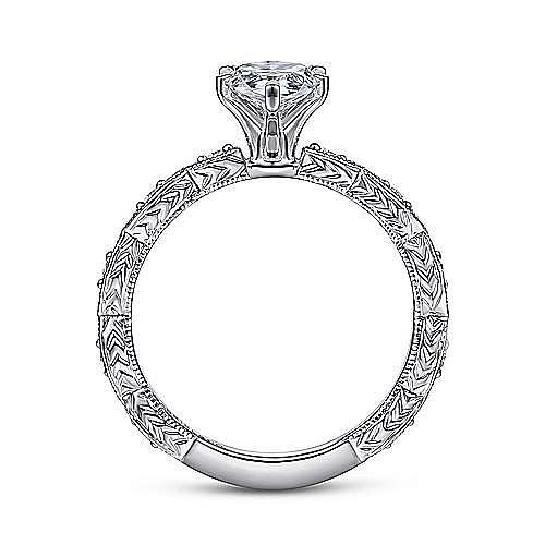 Sadie 14k White Gold Pear Shape Straight Engagement Ring angle 2