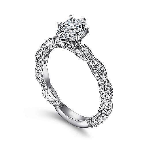 Sadie 14k White Gold Pear Shape Straight Engagement Ring angle 3