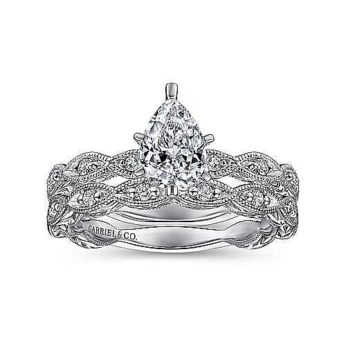 Sadie 14k White Gold Pear Shape Straight Engagement Ring angle 4