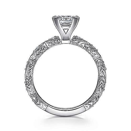 Sadie 14k White Gold Princess Cut Straight Engagement Ring angle 2