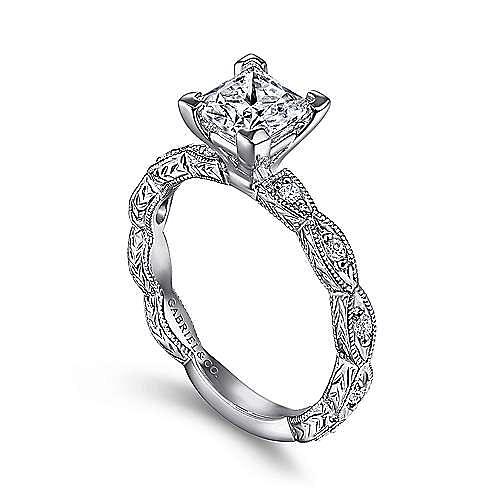 Sadie 14k White Gold Princess Cut Straight Engagement Ring angle 3