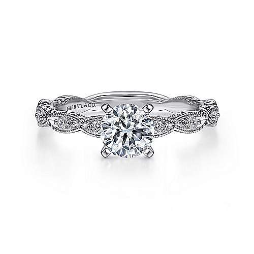 Sadie 14k White Gold Round Straight Engagement Ring angle 1