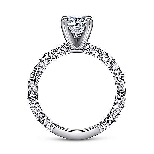Sadie 14k White Gold Round Straight Engagement Ring angle 2