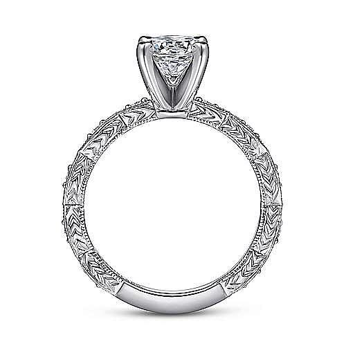 Sadie 14k White Gold Round Straight Engagement Ring angle 2