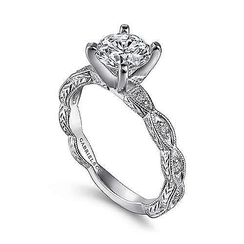 Sadie 14k White Gold Round Straight Engagement Ring angle 3