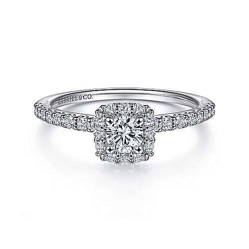 Gabriel - Sagada 14k White Gold Round Halo Engagement Ring