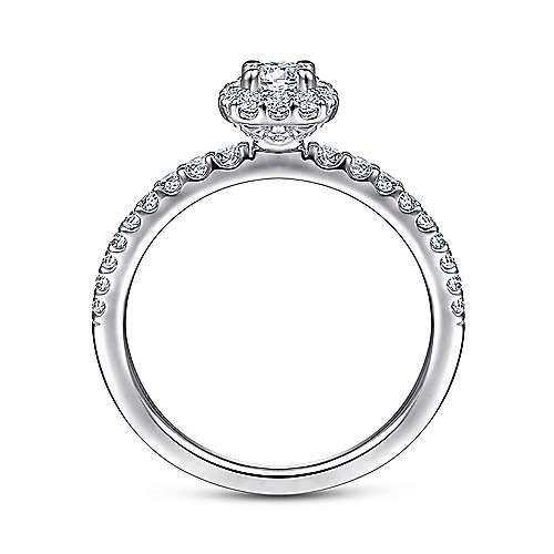 Sagada 14k White Gold Round Halo Engagement Ring angle 2