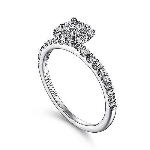 Sagada 14k White Gold Round Halo Engagement Ring angle 3
