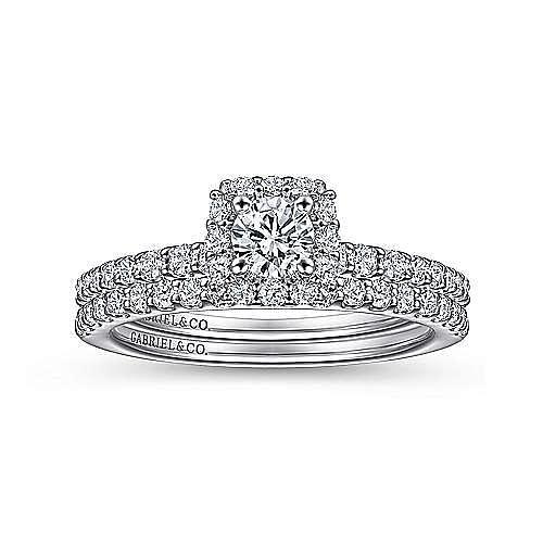 Sagada 14k White Gold Round Halo Engagement Ring angle 4