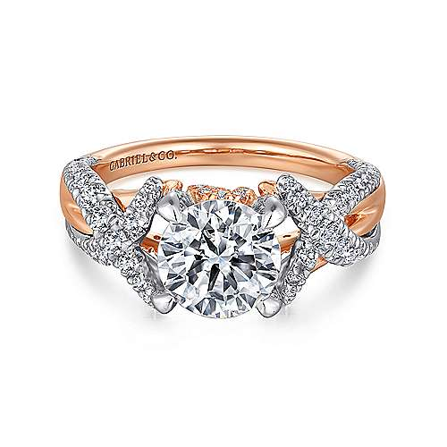 Sage 18k White And Rose Gold Round Twisted Engagement Ring angle 1