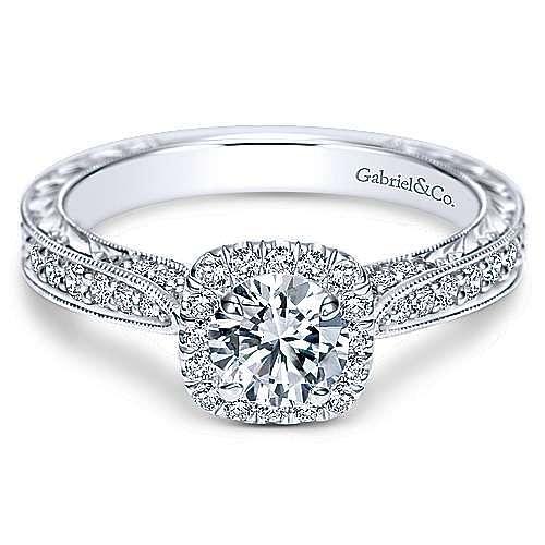 Gabriel - Saki 14k White Gold Round Halo Engagement Ring