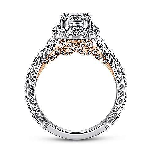 Samantha 14k White And Rose Gold Cushion Cut Halo Engagement Ring angle 2