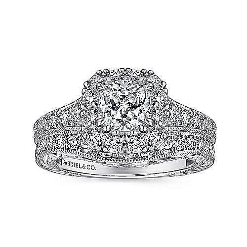 Samantha 14k White And Rose Gold Cushion Cut Halo Engagement Ring angle 4
