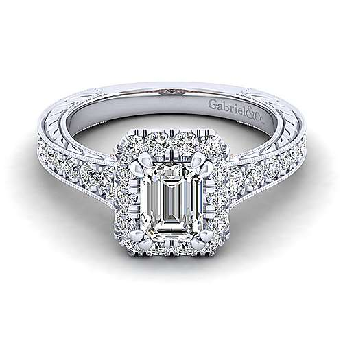 Gabriel - Samantha 14k White And Rose Gold Emerald Cut Halo Engagement Ring