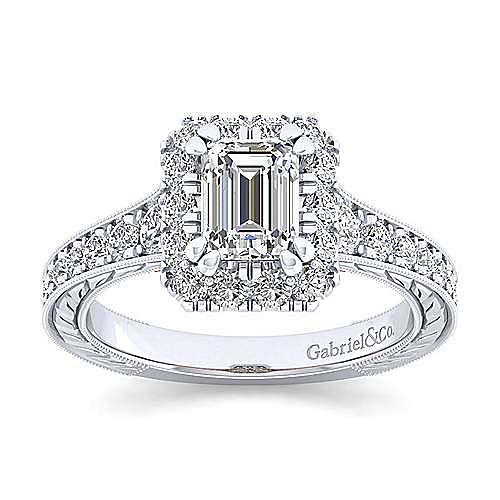 Samantha 14k White And Rose Gold Emerald Cut Halo Engagement Ring