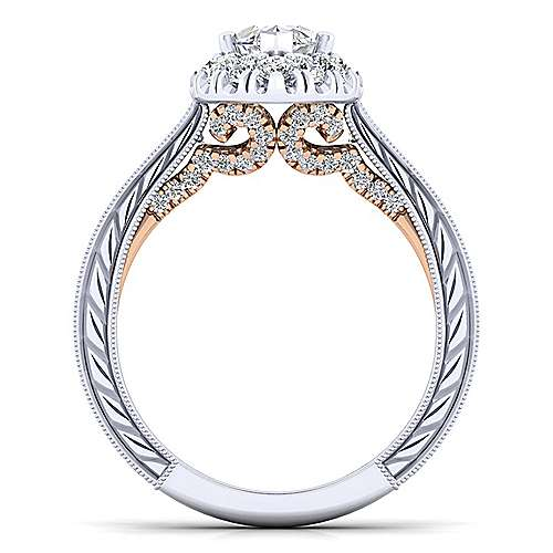 Samantha 14k White And Rose Gold Marquise  Halo Engagement Ring