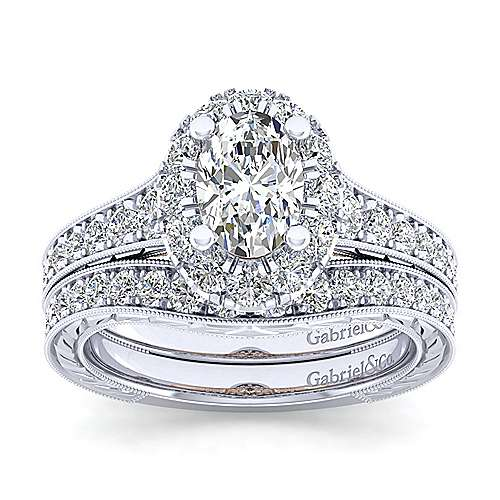 Samantha 14k White And Rose Gold Oval Halo Engagement Ring