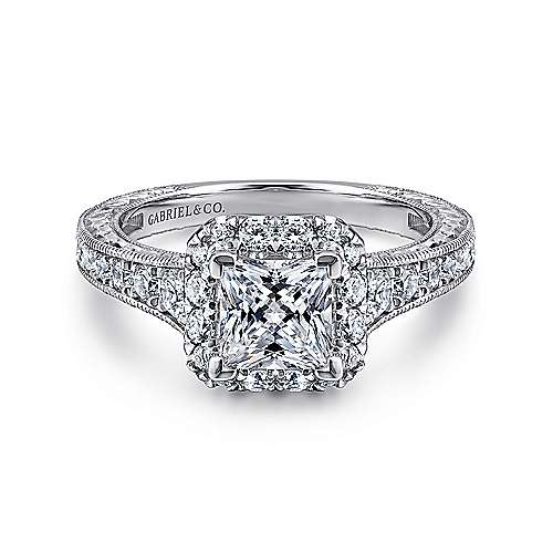 Samantha 14k White And Rose Gold Princess Cut Halo Engagement Ring angle 1
