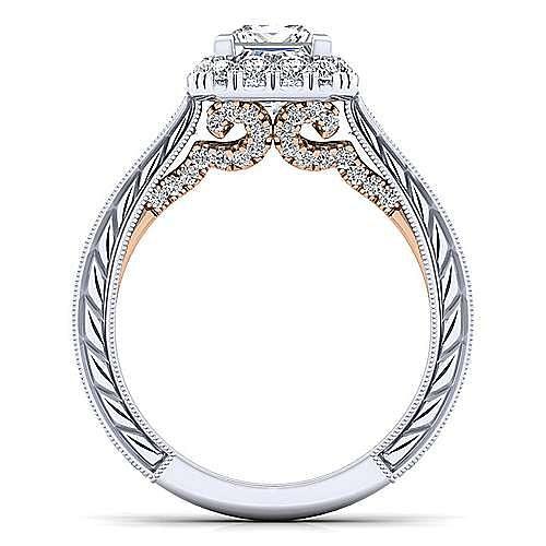 Samantha 14k White And Rose Gold Princess Cut Halo Engagement Ring angle 2