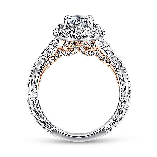 Samantha 14k White And Rose Gold Round Halo Engagement Ring angle 2
