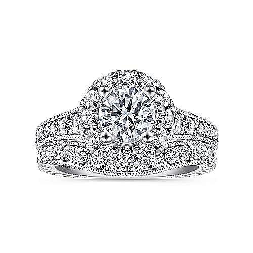 Samantha 14k White And Rose Gold Round Halo Engagement Ring